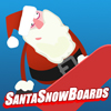 Kerstman snowboardt