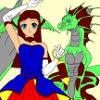 Kinderkleuren: Meisje en haar draak
